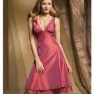 A-Line/Princess V-neck knee-length Satin Bridesmaid dress for brides new Style(BDS0033)