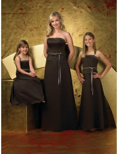 A-Line/Princess Strapless Floor-Length Satin Bridesmaid dress for brides new Style(BD0254)