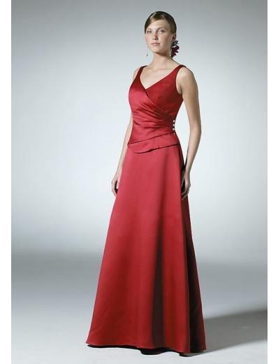 A-Line/Princess V-neck Floor-Length Satin Bridesmaid dress for brides new Style(BD0318)