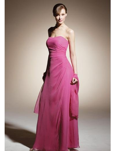 A-Line/Princess Strapless Floor length Chiffon Bridesmaid dress for brides new Style(BD0317)