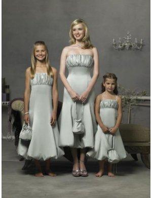 A-Line/Princess Strapless Tea-length Satin Bridesmaid Dresses for brides new style(BD0288)