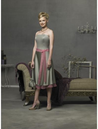 A-Line/Princess Strapless knee-length Satin Bridesmaid Dresses for brides new style(BD0292)