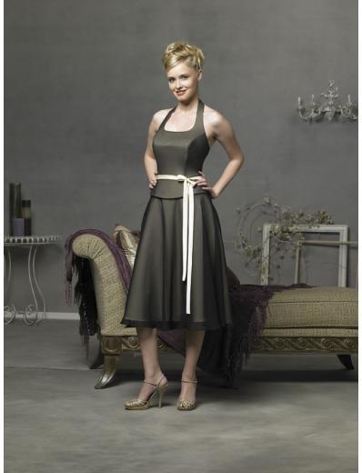 A-Line/Princess Halter Top Tea-length Satin Bridesmaid Dresses for brides new style(BD0291)
