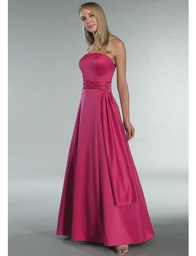 A-Line/Princess Strapless Floor Length Satin Bridesmaid dress for brides new Style(BD0345)