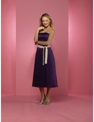 A-Line/Princess Strapless Tea-length Satin Bridesmaid dress for brides new Style(BD0229)
