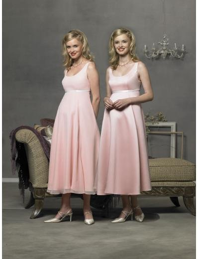 Empire Scoop Tea-length Satin Bridesmaid Dresses for brides new style(BD0285)