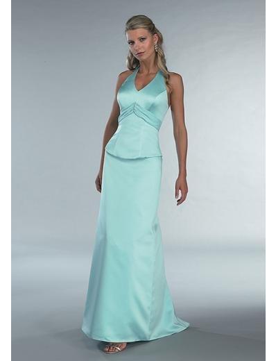 A-Line/Princess Halter Top Floor Length Satin Bridesmaid dress for brides new Style(BD0343)