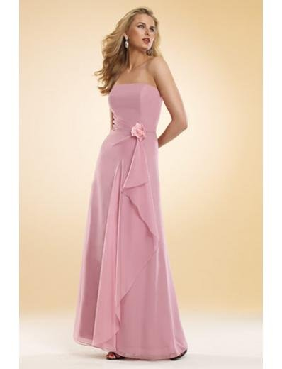 A-Line/Princess Strapless Floor-Length Chiffon Bridesmaid dress for brides new Style(BMD0032)