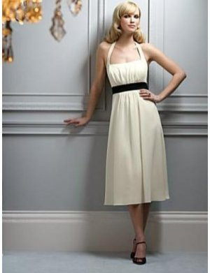 A-Line/Princess Halter Top Tea-length Satin Bridesmaid dress for brides new Style(BMD0056)