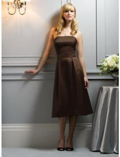 A-Line/Princess Strapless knee-length Satin Bridesmaid dress for brides new Style(BMD0058)