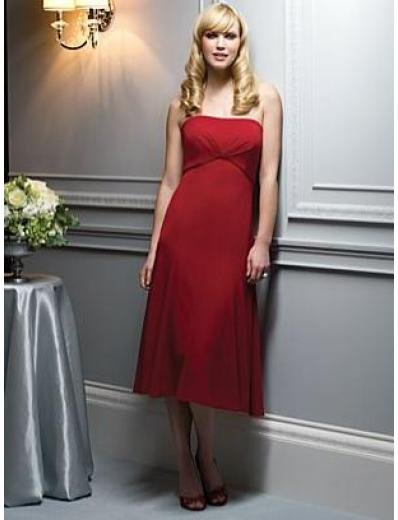 A-Line/Princess Strapless Tea-length Satin Bridesmaid dress for brides new Style(BMD0057)