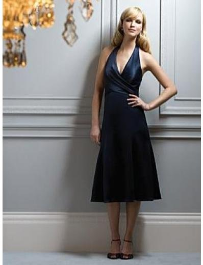 A-Line/Princess Halter Top knee-length Satin Bridesmaid dress for brides new Style(BMD0052)