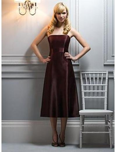 A-Line/Princess Strapless knee-length Satin Bridesmaid dress for brides new Style(BMD0051)
