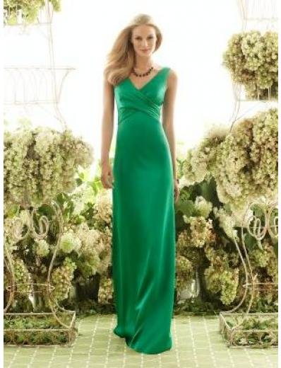 Column V-neck Floor-Length Satin Bridesmaid dress for brides new Style(BMD0046)