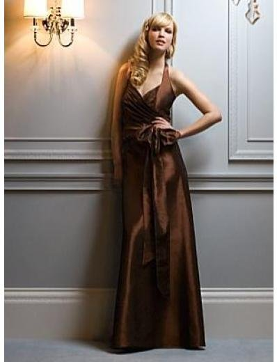 A-Line/Princess Halter Top Floor-Length Satin Bridesmaid dress for brides new Style(BMD0048)