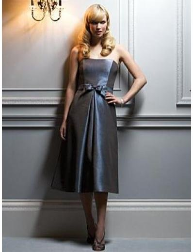 A-Line/Princess Strapless knee-length Satin Bridesmaid dress for brides new Style(BMD0049)