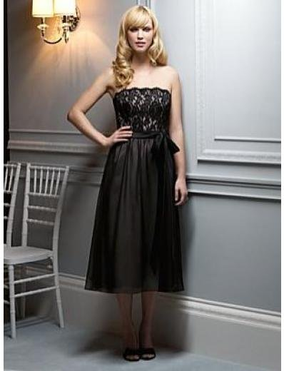 A-Line/Princess Strapless knee-length Satin Bridesmaid dress for brides new Style(BMD0059)