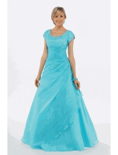 A-Line/Princess Scoop Floor Length Organza Bridesmaid Dresses for brides new style(BMD0222)