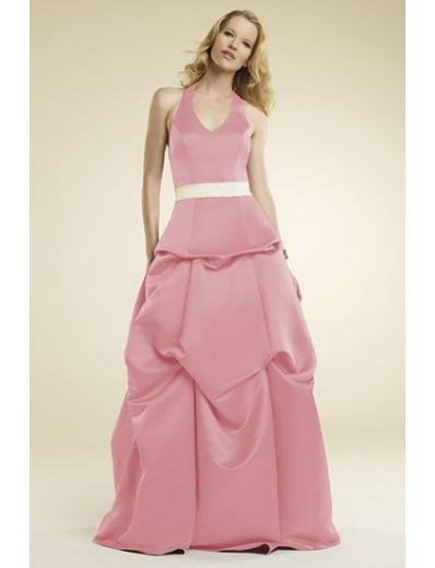 A-Line/Princess Halter Top Floor-Length Satin Bridesmaid dress for brides new Style(BMD0013)
