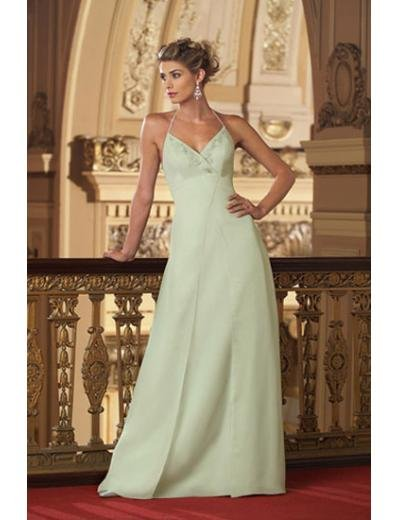 A-Line/Princess Halter Top Floor-Length Satin Bridesmaid dress for brides new Style(BMD0008)