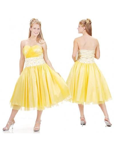 A-Line/Princess Strapless knee-length Organza Bridesmaid Dresses for brides new style(BMD0130)