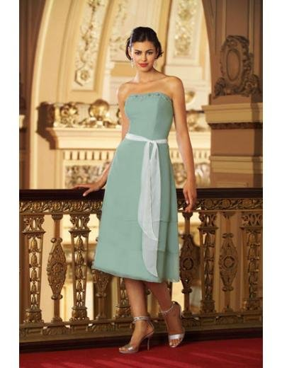 A-Line/Princess Strapless Tea-Length Satin Bridesmaid dress for brides new Style(BMD0301)