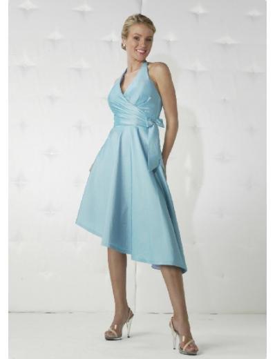 A-Line/Princess Halter top Knee-length Satin Bridesmaid Dresses for brides new Style(BD0171)