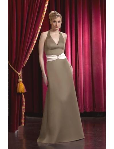 A-Line/Princess Halter Top Floor-Length Satin Bridesmaid dress for brides new Style(BD0051)