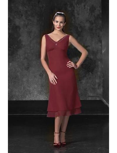A-Line/Princess V-neck Tea-length Chiffon Bridesmaid dress for brides new Style(BD0049)