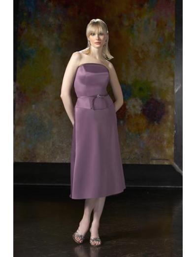 A-Line/Princess Strapless Tea-length Satin Bridesmaid dress for brides new Style(BD0044)