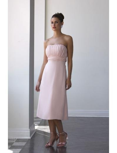 A-Line/Princess Strapless Tea-length Satin Bridesmaid dress for brides new Style(BD0042)