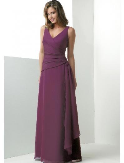 Column/Sheath V-neck Floor-length Chiffon Bridesmaid Dresses for brides new Style(BD0178)