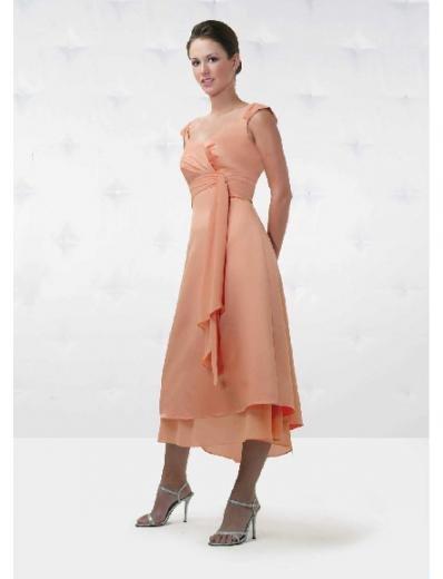 A-Line/Princess Scoop Tea-Length Chiffon Bridesmaid Dresses for brides new Style(BD0151)