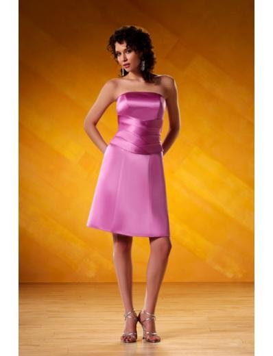 A-Line/Princess Strapless knee-length Satin Bridesmaid Dresses for brides new style(BD0097)