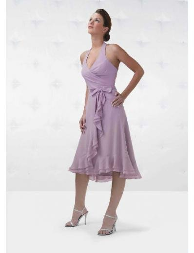 A-Line/Princess Halter Top Tea-length Chiffon Bridesmaid Dresses for brides new Style(BD0145)
