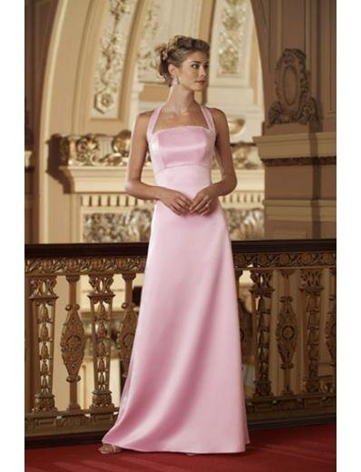 A-Line/Princess Halter Top Floor-Length Satin Bridesmaid dress for brides new Style(BD0002)