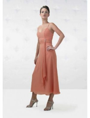 A-Line/Princess Spagetti Straps Tea-Length Chiffon Bridesmaid Dresses for brides new Style(BD0147)