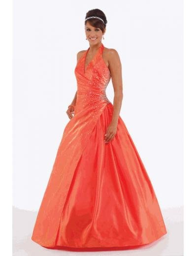 A-Line/Princess halter top Floor Length Satin Bridesmaid dress for brides new Style(BMD0231)