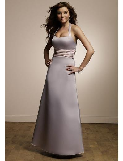 A-Line/Princess Halter Top Floor-Length Satin Bridesmaid dress for brides new Style(BMD0082)