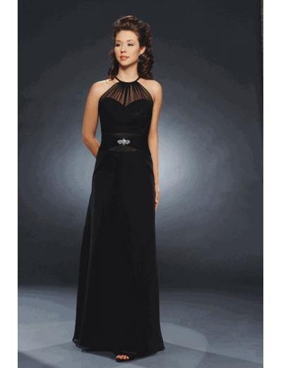 Column/Sheath high-neck Floor Length Satin Bridesmaid dress for brides new Style(BMD0234)