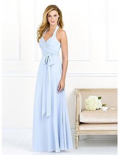 A-Line/Princess Halter Top Floor-Length Satin Bridesmaid dress for brides new Style(BMD0065)