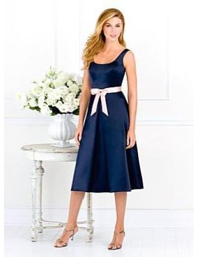 A-Line/Princess Scoop knee-length Satin Bridesmaid dress for brides new Style(BMD0072)