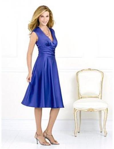 A-Line/Princess V-neck knee-length Satin Bridesmaid dress for brides new Style(BMD0071)