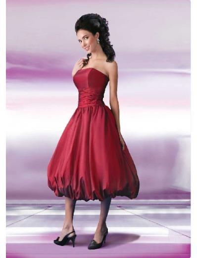 A-Line/Princess Strapless Tea-length Satin Bridesmaid Dresses for brides new style(BD0130)