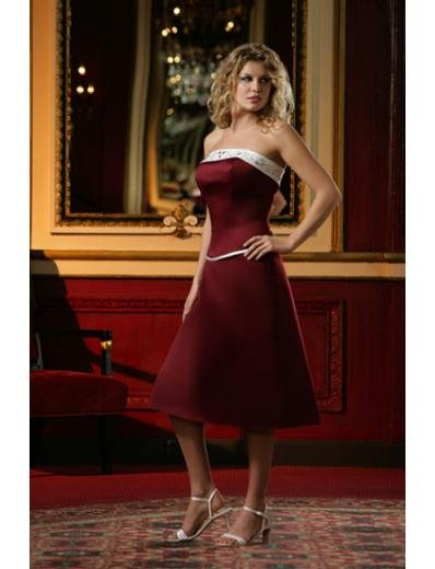 A-Line/Princess Strapless Knee-length Satin Bridesmaid Dresses for brides new style(BD0084)