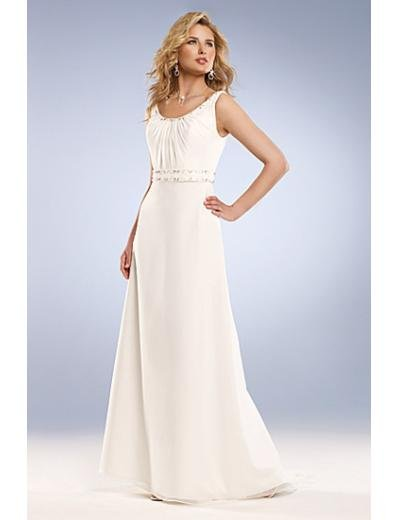 A-Line/Princess Scoop Chapel Train Chiffon wedding dress for brides new Style(WD0044)
