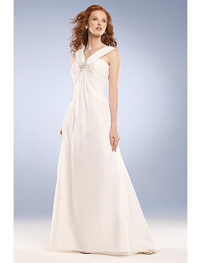 A-Line/Princess V-neck Brush Train Chiffon wedding dress for brides new Style(WD0045)