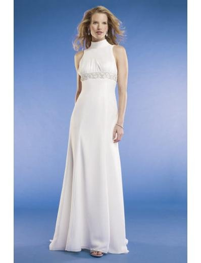 Empire High-neck Sweep train Chiffon wedding dress for brides new Style(WED0062)