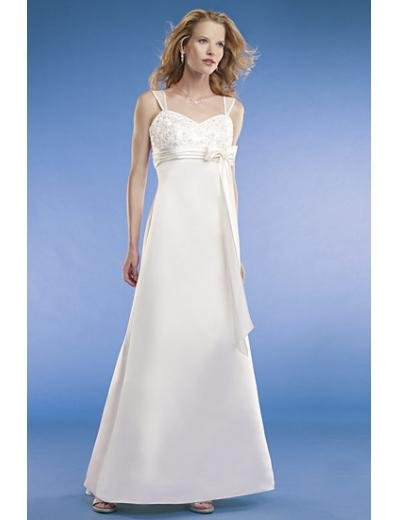 Empire Spaghetti straps Sweep train Satin wedding dress for brides new Style(WED0066)