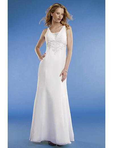 Empire Scoop Sweep train Satin wedding dress for brides new Style(WED0067)